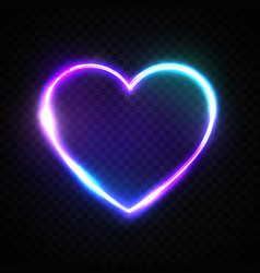 color bright heart electric neon sign retro frame vector image