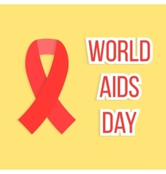 concept of world AIDS day with red ribbon vector image
