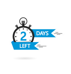 Countdown with left 2 day timer with 3 day go vector