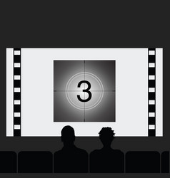 couple silhouette in cinema vector image
