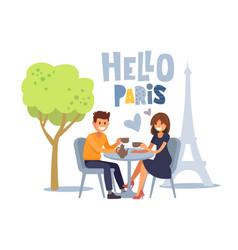 Couple siting at parisian cafe vector