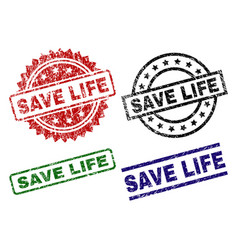 damaged textured save life stamp seals vector image