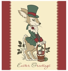 Easter retro card with rabbit vector image