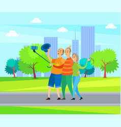 elderly man and woman friends in urban park vector image