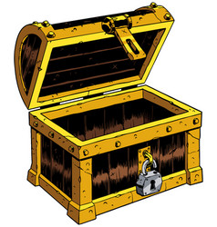 empty chest wooden vector image