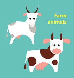 Farm animals cow and goat vector