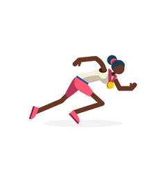 Female runner black running athlete vector