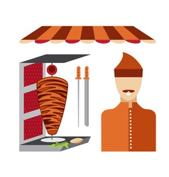Flat design doner kebab elements and chef vector