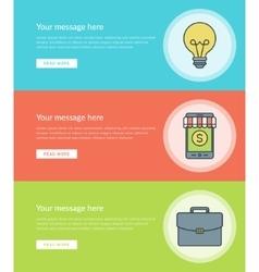 Flat line Business Concept Web Site Banners Set vector image