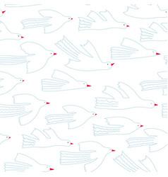 Flying white bird spring pattern vector