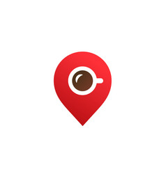 geotag with coffee or location pin logo icon vector image