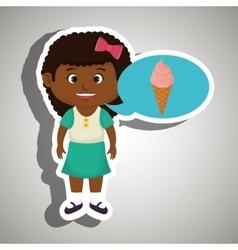 Girl cartoon ice cream vector