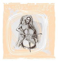 Girl playing the cello vector