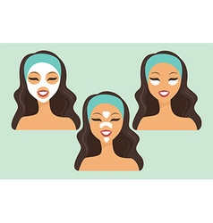 girl with various beauty masks vector image
