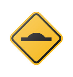 Glossy speed bump ahead sign vector