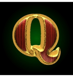 Golden figure with red wood q vector