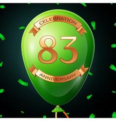 Green balloon with golden inscription eighty three vector