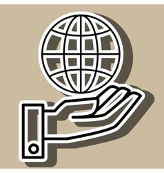 Hand and world connection isolated icon design vector
