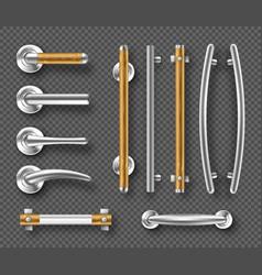 Handles for doors or windows metal wooden details vector