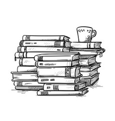 Heaps of books with a cup of coffee on the top vector