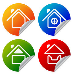 House icons on colorful sticker home summer house vector