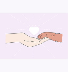 human hand hold pet paw show love vector image
