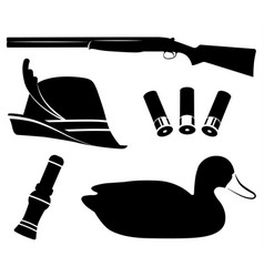 Hunting set duck hunting shotgun duck vector