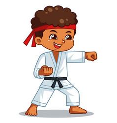 Karate boy performing fist technique vector