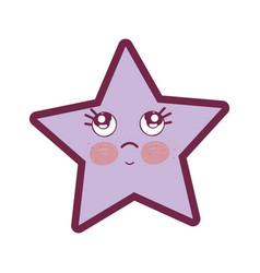 Kawaii thinking and cute star design vector