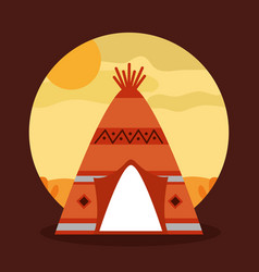 Landscape desert with teepee home native american vector