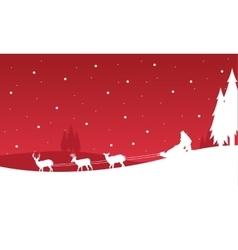 Landscape of train Santa Christmas vector