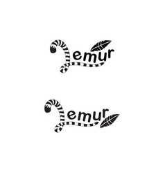 Lemur tail with feather vector