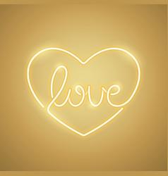 Love neon sign yellow vector