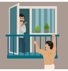 Lover man escapes from an angry husband vector
