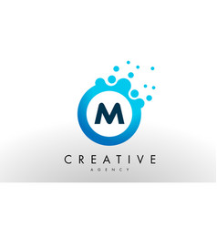 M letter logo blue dots bubble design vector