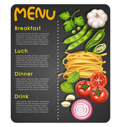 menu template with ingredients and text vector image
