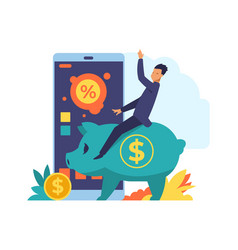 Online banking mobile bank application wealthy vector