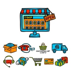 Online shopping decorative set vector image