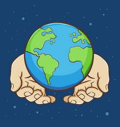 pair of hands holding earth vector image