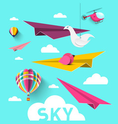 paper planes with hot air balloons origami birds vector image