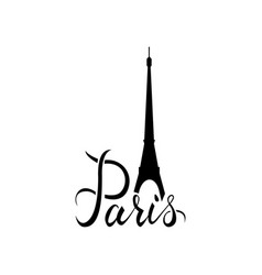 paris word with eiffel tower vector image