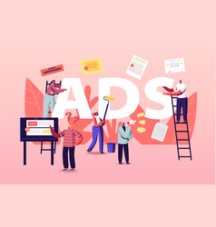 People giving and reading ads concept characters vector