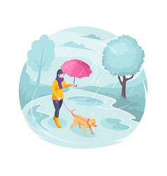 pet walking in rain woman girl and dog isometric vector image