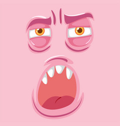 pink tired monster face vector image