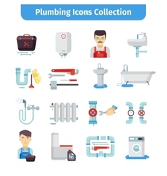 Plumbing flat icons collection vector