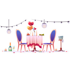 restaurant table after romantic dating isolated vector image