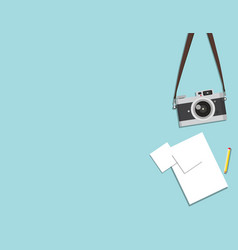 Retro camera and paper vector