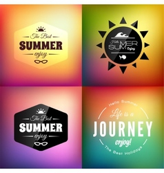 Retro styled summer calligraphic design card set vector image