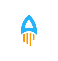 rocket letter a logo icon design vector image