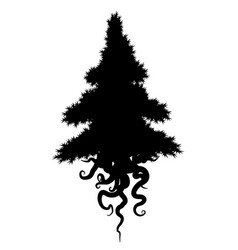 Roots conifer silhouette vector